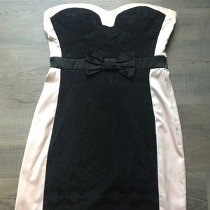 Pink & Black Lace Dress With Bow From City Studio
